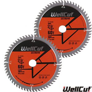 wellcut-tct-saw-blade-165mm-x-60t-x-20mm-bore-for-dewalt-dws520-gkt55-pack-of-2