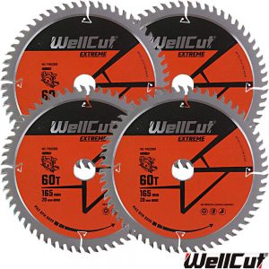 wellcut-tct-saw-blade-165mm-x-60t-x-20mm-bore-for-dewalt-dws520-gkt55-pack-of-4