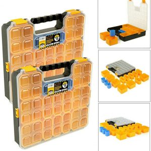 tough-master-pro-tool-organiser-15-storage-compartments-plastic-carry-twin-case-for-storage-screws-nails-rivets-bolts-washers
